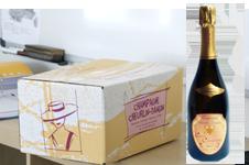 photo caisse 6 bouteille de champagne cuvée christiane  avec bouteille