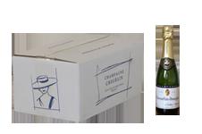 photo caisse 6 demi bouteille de champagne carte or avec bouteille