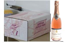 photo caisse 6 bouteille de champagne rosée speciale avec bouteille